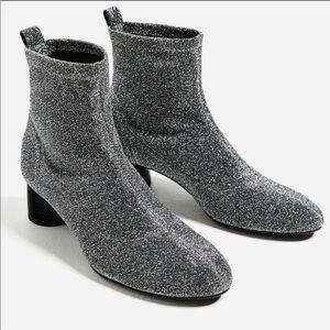 Zara Silver glitter sock ankle boots size 36